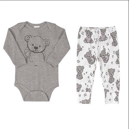 Conjunto Body longo e calça - ursinha- UP BABY