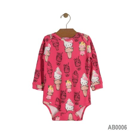 Body Manga Longa Suedine - Hello Kitty