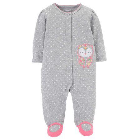 Pijama Macacão Coruja Cinza - Menina - Carter's