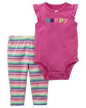"""Conjunto 2 Peças Menina """"Happy"""" - Carter's"""