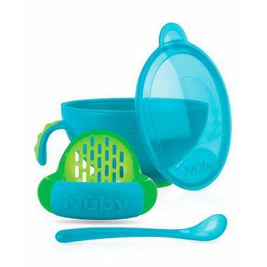 Pote Preparador de Papinha - Azul e verde - NUBY