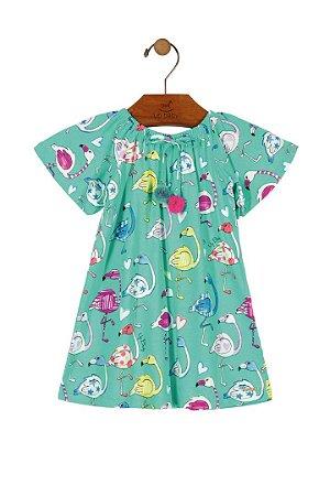 Vestido Midi Flamingo - Verde - Up Baby