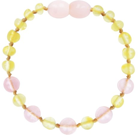 Bracelete de Âmbar - Lemon / Rose Quartzo - Bup baby