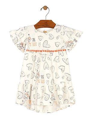 Vestido Estampado Coração - Off White - Up Baby