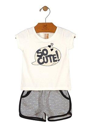 Conjunto Meia Malha - So Cute - Off White/Cinza - Up Baby