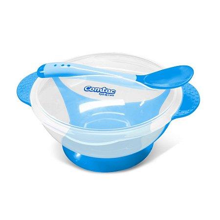 Kit Refeição Tigela + Colher Termosensível - Azul - COMTAC KIDS