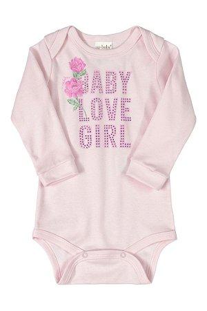 Body Manga Longa - Floral Rosa - Up Baby