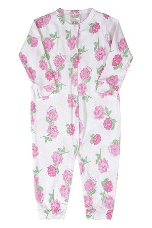 Macacão Manga Longa - Floral Rosa - Up Baby