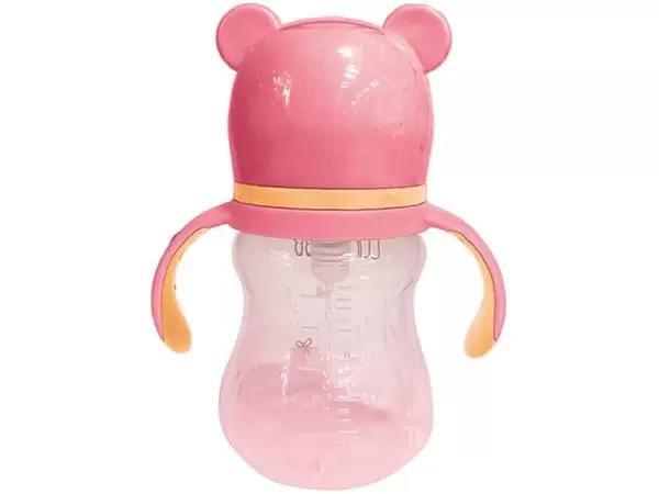 Copo Infantil com alça - Urso Rosa -  180ml Buba