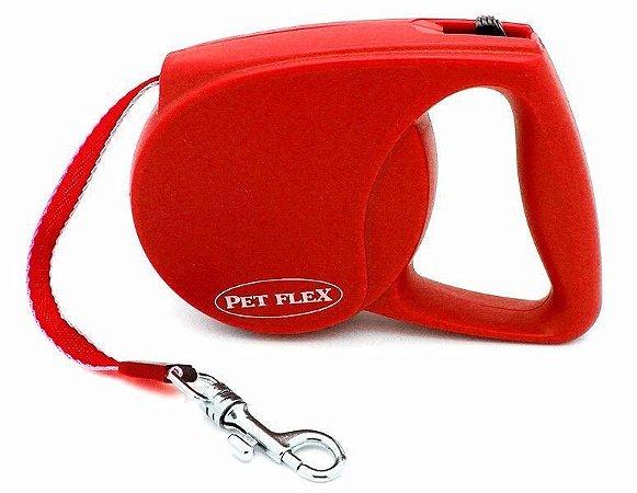 Guia Retrátil Para Cachorro Pet Flex Vermelha - 3 metros para cães até 25 kg