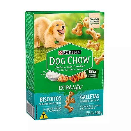 Biscoito Dog Chow para cães filhotes de todos os tamanhos sabor frango e leite 250g