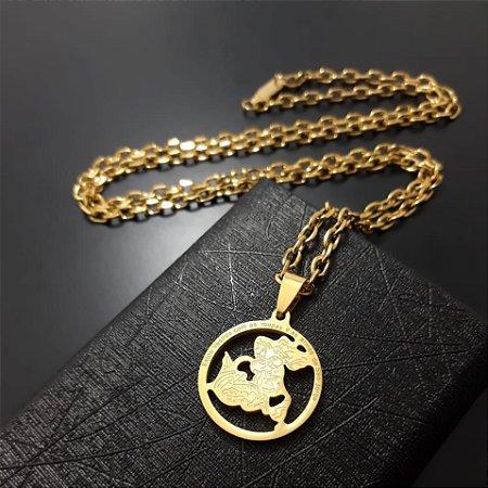 Corrente Cartier Banhado a Ouro 18K + Pingente Oração São Jorge Banhado a Ouro 18K