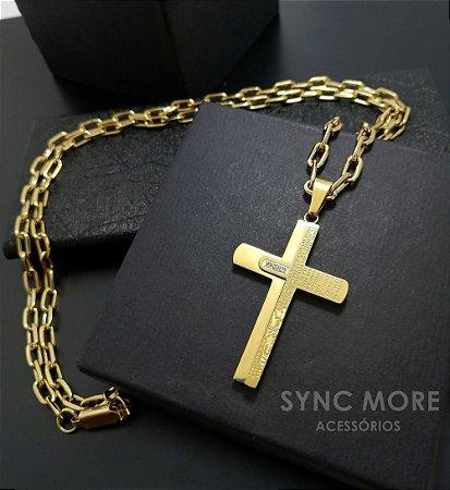 Corrente Cadeado Alongado 60cm 5mm Banhada a Ouro 18K + Pingente Cruz Pai Nosso com Pedras