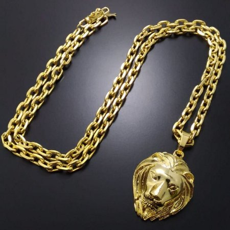 Corrente Cartier 70cm 5mm Fecho Canhão Banhado a Ouro 18K + Pingente Leão Banhado a Ouro 18K