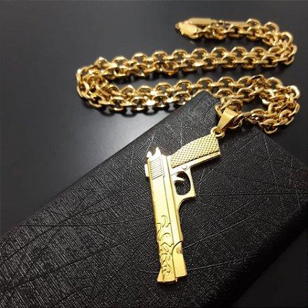 Corrente Cartier 70cm 7mm Banhada a Ouro 18K + Pingente Pistola 380