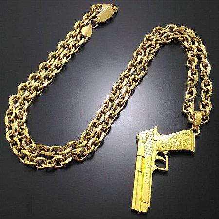 Corrente cartier 70cm 7mm Banhada a Ouro 18K + Pingente Pistola 765