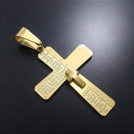 Pingente Crucifixo Pai Nosso Banhado a Ouro 18K