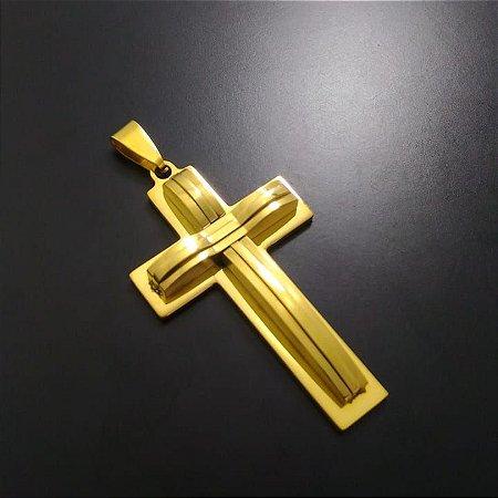 Pingente Cruz Sobreposta Tripla Banhada a Ouro 18K