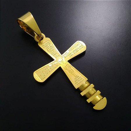 Pingente Crucifixo Pai Nosso 3R Banhada a Ouro 18K
