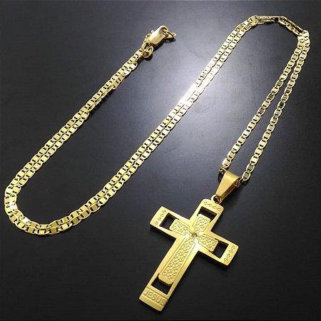 Corrente Elo Piastrine 70cm 2,5cm Banhada a Ouro 18K + Pingente Cruz Face de Cristo