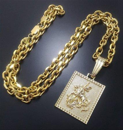 Corrente Cartier Cadeado 80cm 9mm Banhada a Ouro 18K + Pingente Placa São Jorge