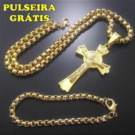 Corrente Elo Trançado Banhado a Ouro 18K + Pingente Cruz Cristo Inri Banhado a Ouro 18K + Pulseira Grátis