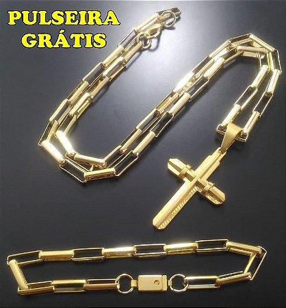 Corrente Tijolinho 70cm 5mm Banhado a Ouro 18K + Pingente Cruz Banhado a Ouro 18K + Pulseira Grátis