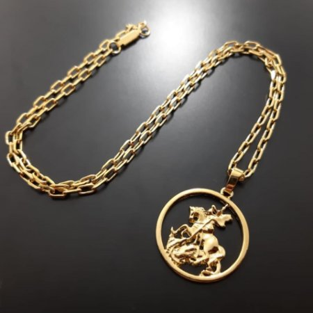 Corrente Cartier Alongado 60cm 4mm Banhado a Ouro 18k + Pingente São Jorge