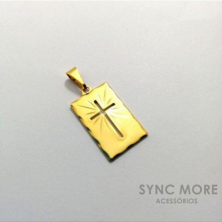 Pingente Placa Cruz Vazada Banhado a Ouro 18K