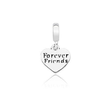 Berloque de Prata Pingente Coração Amigas Para Sempre