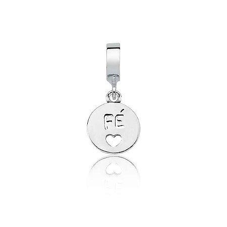 Berloque de Prata Medalha Fé Vazada