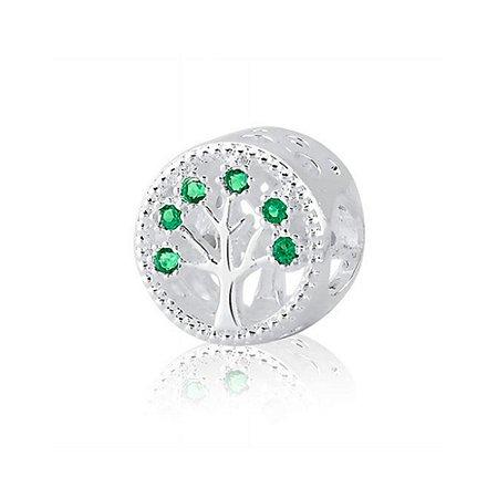 Berloque de Prata Separador Árvore da Vida Zircônia Verde