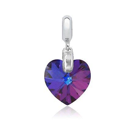 Berloque de Prata Pingente Coração Cristal Swarovski Azul