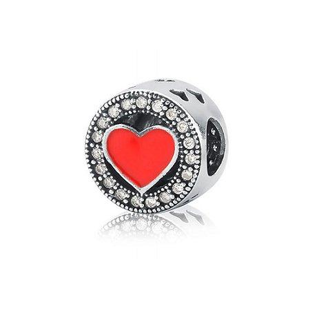 Berloque de Prata Separador Coração Vermelho com Zircônias