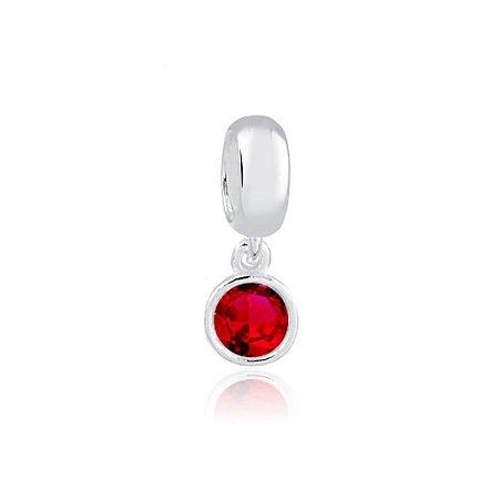 Berloque de Prata Mini Ponto de Luz Vermelho