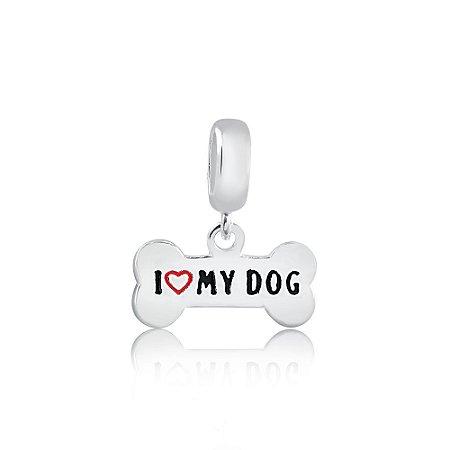 Berloque de Prata Osso I Love My Dog
