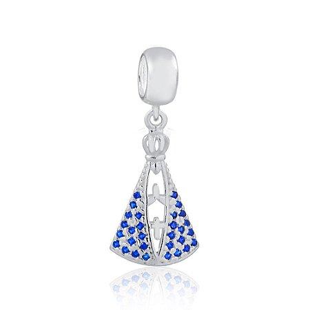 Berloque de Prata Nossa Senhora Aparecida Zircônias Azul