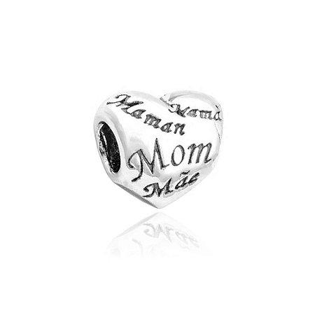 Berloque de Prata Coração Mãe