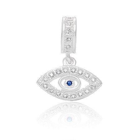 Berloque de Prata Olho Grego com Zircônias