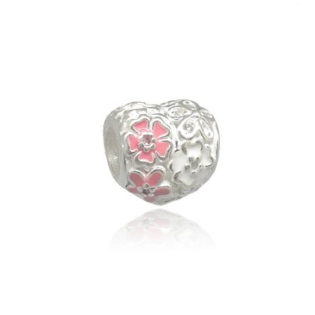 Berloque de Prata Coração Floral com Zircônias