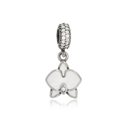Berloque de Prata Orquídea Branca