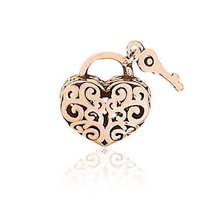 Berloque Rosé Coração com Chave