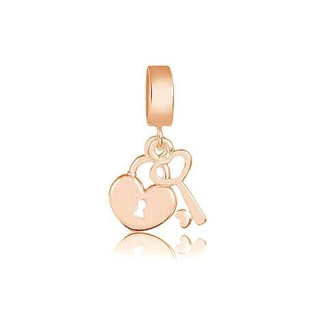 Berloque Rosé Pingente Coração com Chave