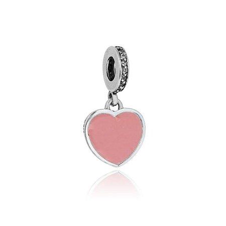 Berloque de Prata Pingente Coração Rosa com Zircônias