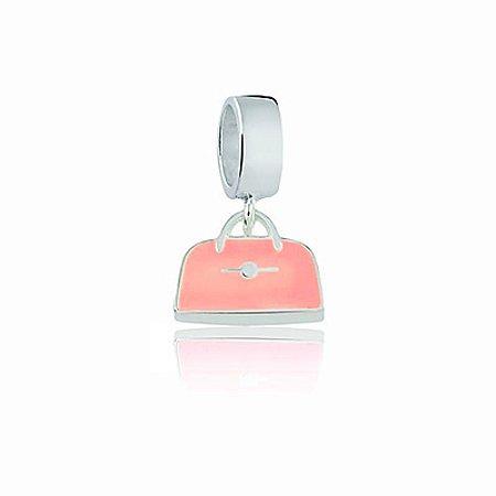 Berloque de Prata Bolsa Rosa