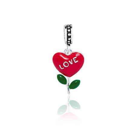 Berloque de Prata Pingente Flor Coração Love