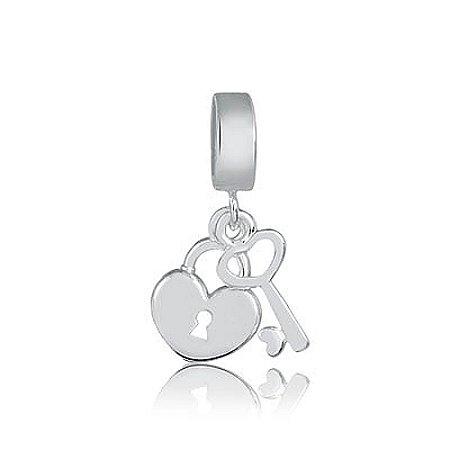 Berloque de Prata Pingente Coração com Chave
