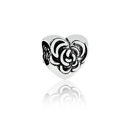 Berloque de Prata Coração com Rosa
