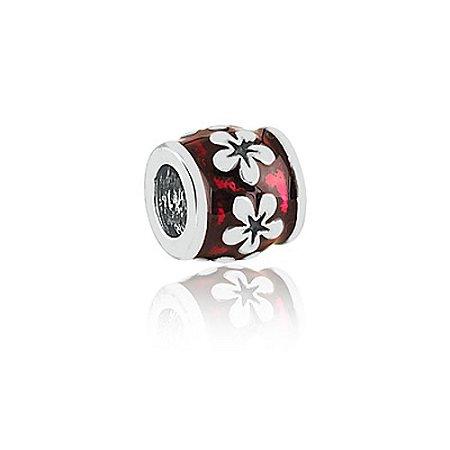 Berloque de Prata Separador Rubi Floral