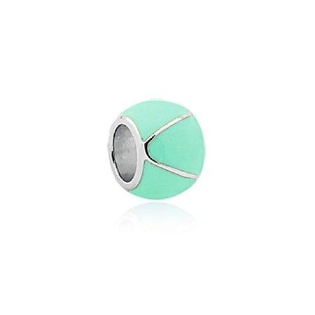 Berloque de Prata Separador Bolinha Verde Turquesa